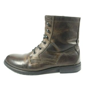 Bed Stu Brown Leather Lace Up Side Zip Ankle Boots